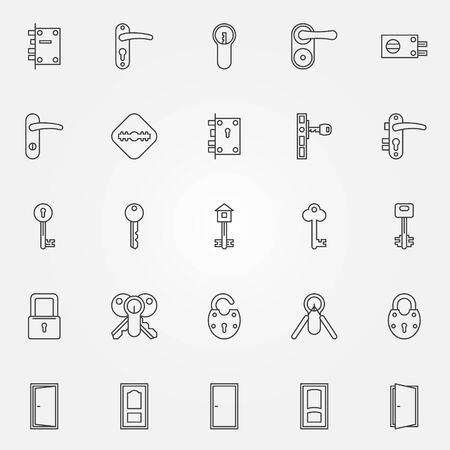 Door lock icons - vector set of door, keys, lock symbols in thin line style
