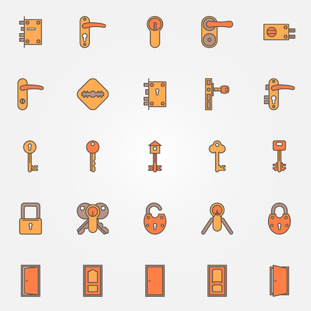 Deursloten, sleutels en deuren kleurrijke pictogrammen - vector set van symbolen of logo elementen Stock Illustratie