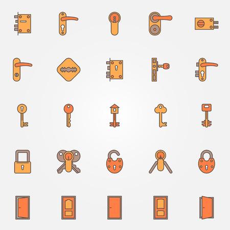 Door locks, keys and doors colorful icons - vector set of symbols or logo elements