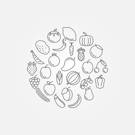 pommegranate: Fruits and vegetables illustration - vector healthy symbol in thin line style Illustration