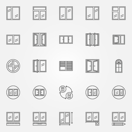 Window icons - vector set of window installation linear symbols