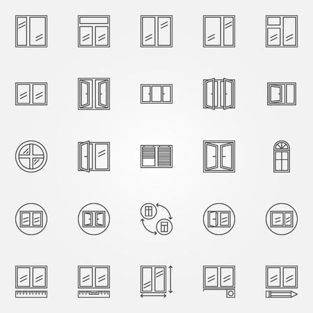 Window icons - vector set of window installation linear symbols