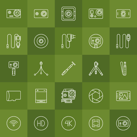 action hero: Action camera vector set - collection of thin line symbols of extreme cameras, tripods and other accessories Illustration