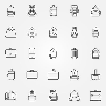 Backpack and bags icons - vector set of black thin line symbols Vectores