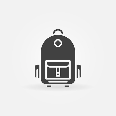 schoolbag: Backpack icon or - vector schoolbag dark simple symbol