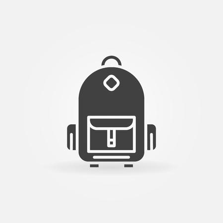 schoolbag: Backpack icon or - vector schoolbag dark simple symbol