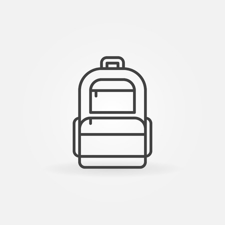 Backpack icon - vector thin line dark bag symbol