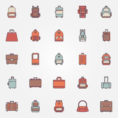 niño con mochila: coloridos iconos Bolsa - vector conjunto de mochila, bolso, maletín y otros símbolos de equipaje
