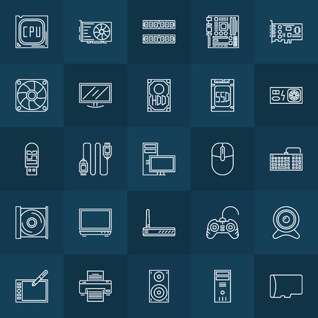 lcd monitor printer: Computer components icons - vector set of hardware symbols or PC accessories