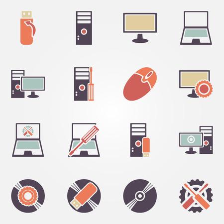 laptop repair: Computer repair icons - vector set of PC or laptop flat symbols Illustration
