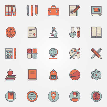 Education colorful icons - vector set of school, college or university learning symbols