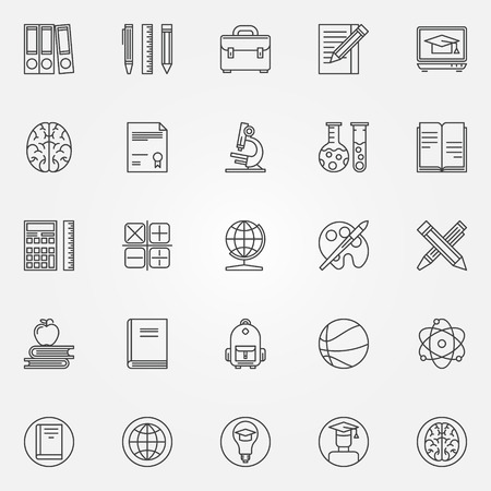 calc: Education icons set - vector collection of learning or teaching symbols in thin line style