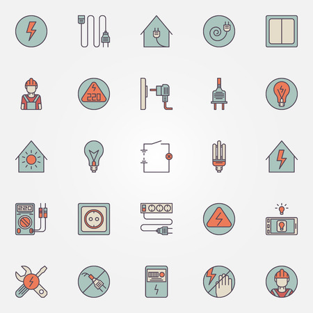 electrician tools: Electricity colorful icons - vector set of energy symbols Illustration