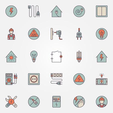 Strom bunten Icons - Vektor Reihe von Energie-Symbole Standard-Bild - 44336017