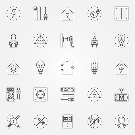 electrician: Electricity icons - vector set of home electricity symbols in thin line style