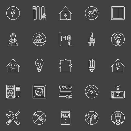 Strom-Icons Set - Vektor-Sammlung von Zuhause Strom- und Energie lineare Symbole