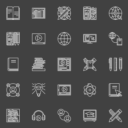 corsi di formazione: Icone di istruzione Internet set - vettore sottile linea di simboli di corsi di istruzione o di formazione online