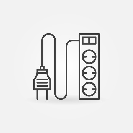 wattage: Extension cord icon - vector thin line symbol