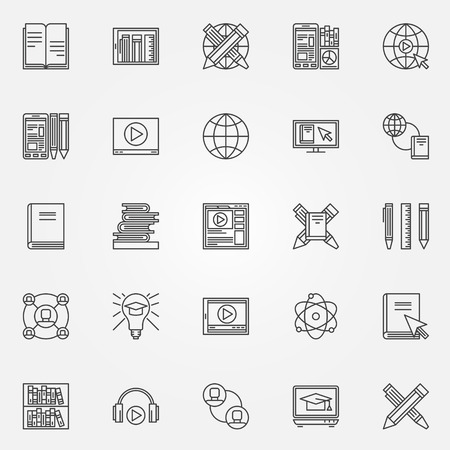 thin bulb: Online education icons set - vector collection of thin line symbols of internet education and video tutorials