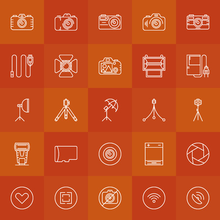 digicam: Photography icons - vector white thin line set of camera, tripod, cable, and other photo accessories symbols