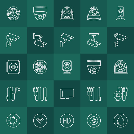 cams: Security cameras icons set - vector video surveillance cams thin line symbols on dark green background Illustration