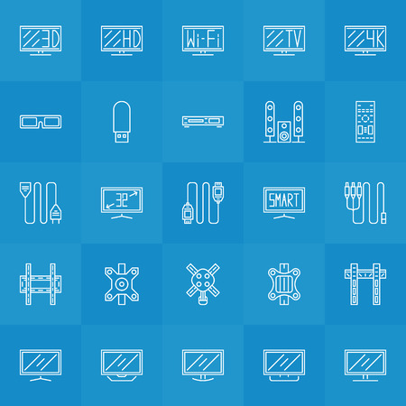 bracket: Set of TV icons - vector collection of thin line monitor, wire, bracket and other accessories symbols Illustration