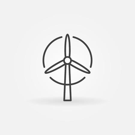 turbina: Turbina de viento o icono - vector delgada línea símbolo simple energía ecológica