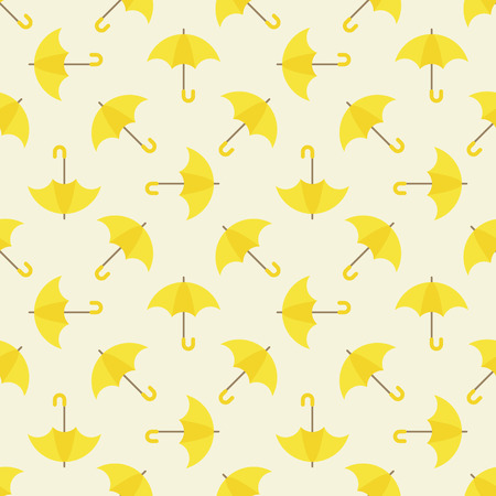 yellow umbrella: Yellow umbrella seamless pattern - vector bright repeated texture Illustration