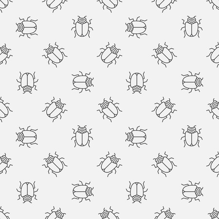 retro patterns: Bugs seamless pattern - vector simple texture with thin line insects or beetles Illustration