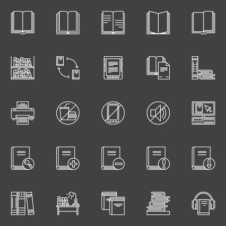 Library Icons Set Vector Linear Collection Of Books Signs And
