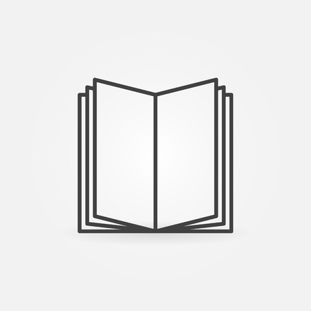 Open book linear icon - vector thin line education symbol or library logo