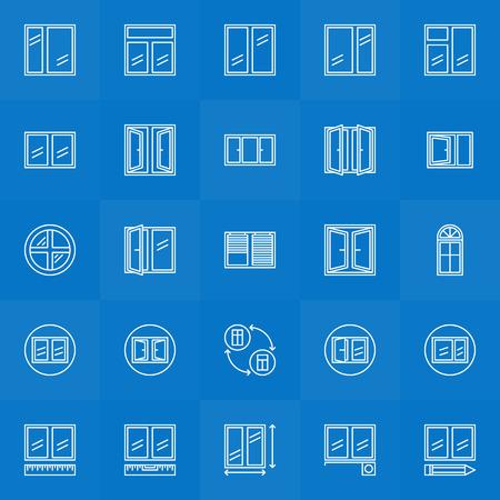 installation: Window icons set - vector collection of window installation thin line symbols Illustration
