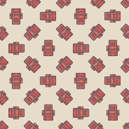 touristic: Travel or hiking seamless pattern - vector flat texture made with touristic backpacks