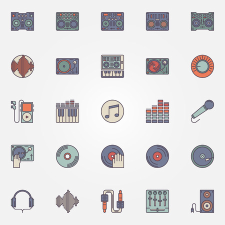 dj: Colorful DJ icons set - vector collection of flat DJ music signs or logo elements Illustration