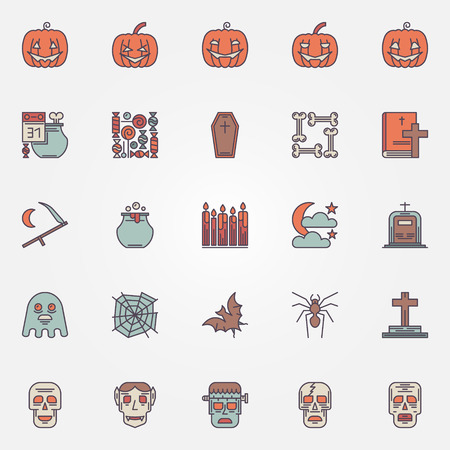 nosferatu: Colorful halloween icons set - vector collection of flat halloween symbols or logo elements