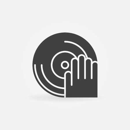dj: DJ icon or logo - Dj plays on a vinyl vector black simple symbol