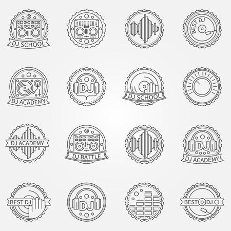 cd recorder: DJ labels or badges - vector set of thin line music DJ battle or DJ academy signs and logo elements Illustration