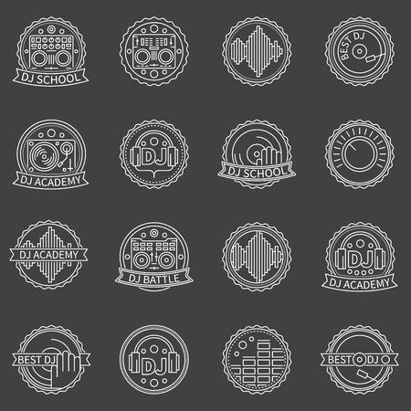 cd recorder: DJ labels set - vector Best DJ or DJ School badges or logo elements on dark background