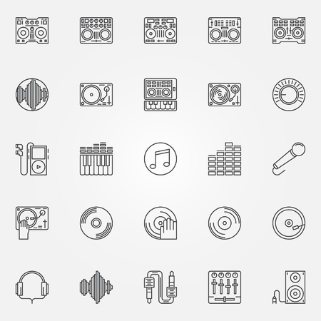 dj equipment: DJ linear icons set - vector collection of DJ equipment and accessories symbols or logo elements in thin line style