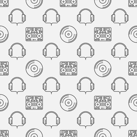 electronic background: DJ minimal seamless pattern - vector music background made with thin line DJ controller, headphone and vinyl
