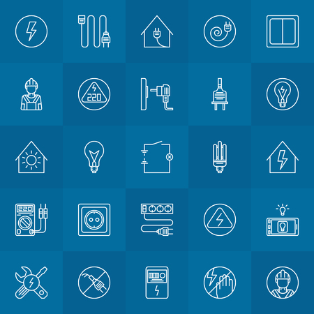 electrical symbols: Electricity linear icons - vector home electrical symbols or logo elements in thin line style