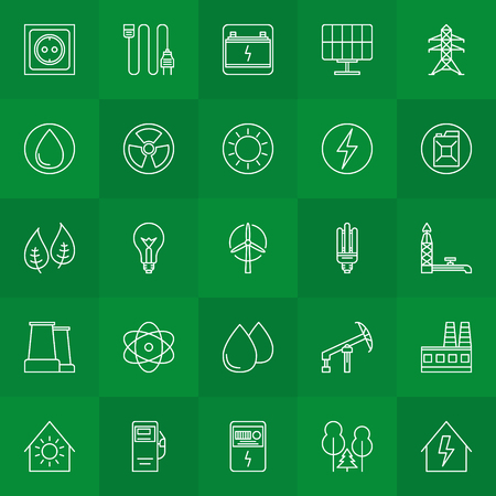 commercial tree service: Energy and power linear icons - vector collection of thin line symbols or logo elements