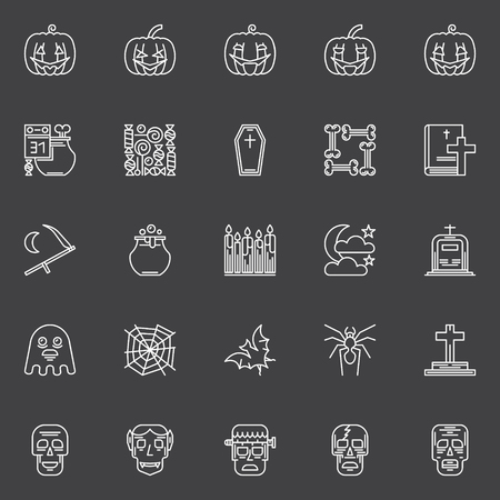 Halloween icons set - vector set of outline pumpkins, skulls and other halloween symbols in thin line style on dark background