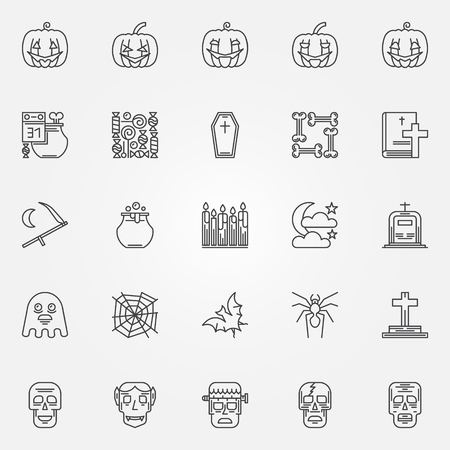 Halloween linear icons set - vector collection of thin line skulls, pumpkins, bones and other halloween symbols or logo elements