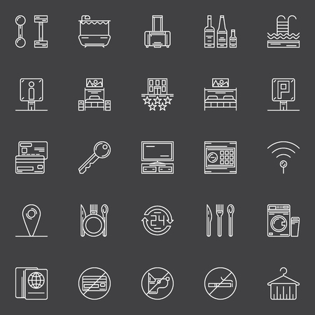 mini bar: Hotel icons set - vector linear hotel or motel symbols or logo elements
