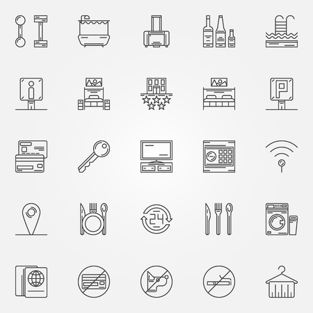 mini bar: Hotel linear icons - vector set of thin line hotel services icons or logo elements