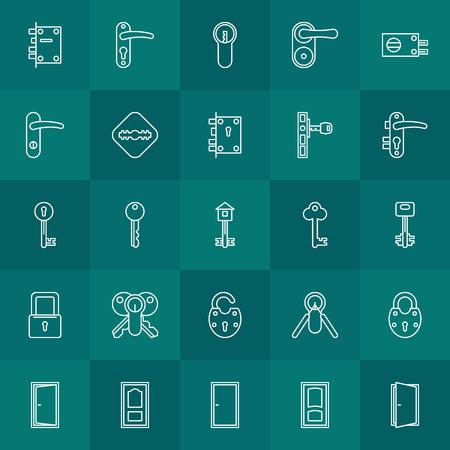 door lock: Keys and door lock icons - vector set of white linear symbols or logo elements