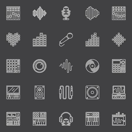 Musical studio lineaire iconen - vector set van muziek symbolen of logo elementen voor opname studio Stock Illustratie