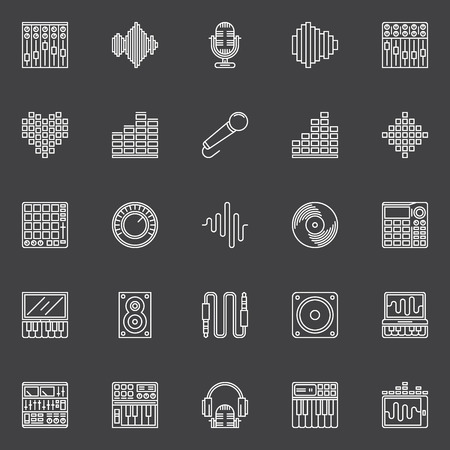 Musical studio linear icons - vector set of music symbols or logo elements for recording studio