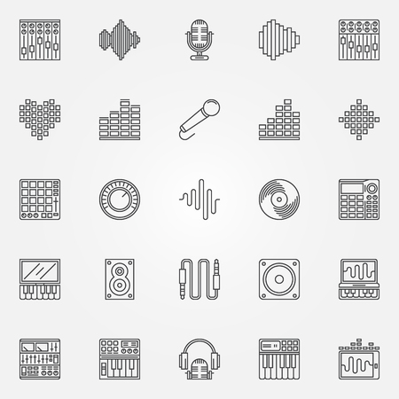 Recording studio icons set - vector musical studio symbols in thin line style. Music logo elements